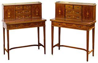 Sheraton Revival Inlaid Mahogany Desks