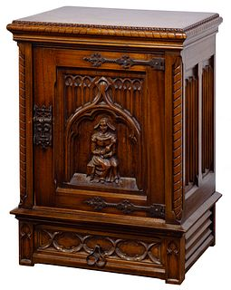 Colby's English Style Carved Oak Cabinet