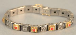 Konstantino 18K, sterling and coral bracelet, lg. 7""