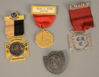 Four Connecticut medals, three with ribbon.