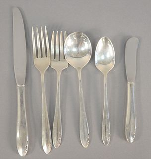 Sterling silver flatware set, Heirloom pattern setting for twelve, 100 t.oz. plus thirty three handles.