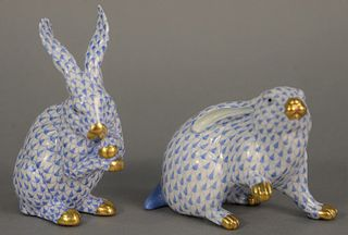"Two Herend porcelain rabbits, blue fishnet pattern, ht. 4"" and 6""."