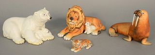 "Four Herend porcelain figures to include natural lion, polar bear, tiger and walrus, ht. 5 1/2""."