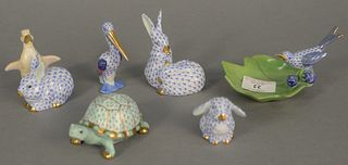 "Six small Herend porcelain figures to include rabbits, birds and a turtle in blue and green fishnet, largest ht. 3 1/2""."