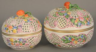 "Two Herend baskets with lids and strawberry finial handle, ht. 5 1/2"" and 6 1/2""."