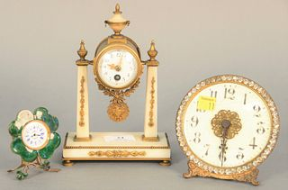 "Three 19th C. clocks with French marble shelf clock, ht. 7 1/2"" (one enamel chipped)."