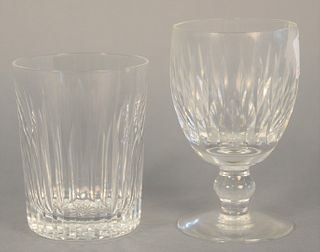 "Twelve Waterford glasses to include six tumblers, ht. 4 1/2"" along with six stemmed goblets, ht. 5 1/4"", some with chips."