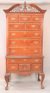 "Mahogany Chippendale style highboy, ht. 83"", wd. 40""."