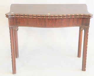 "Chippendale style mahogany game table with felt interior, ht. 29"", wd. 36"", open top 36"" x 36""."