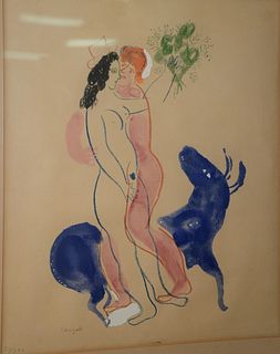 "Marc Chagall, lithograph, Blue Bull with two figures, pencil signed lower left, numbered 50/300, sight size 18.5"" x 15""."