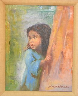 "Sandu Liberman (1923-1977), oil on canvas, young girl in blue dress, signed lower right Sandu Liberman, in painted frame, 14"" x 11""."