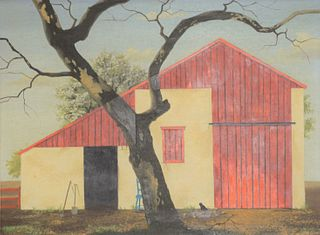 "Paul Crosthwaite (1911-1981), oil on board, red and white barn with large tree, signed lower right Crosthwaite, in painted frame, 12"" x 16""."