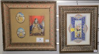 "Four miniature paintings, each framed. 6.5"" x 4.75"" and 7.25"" x 8""."