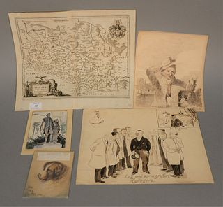 Four piece lot to include watercolor of dog, watercolor of doctors marked 'Kullegen', early 19th C. map of Germany, along with ink of Chief of Humane