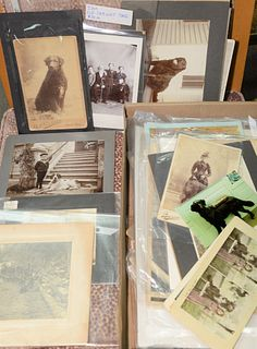 Two tray lots of dog ephemera photographs, tin types, CDV's, some with children along with Live Dog, 1931 calendar.