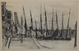"James Whistler etching, 'Billingsgate', signed in plate 'Whistle 1859', plate 6"" x 9""."