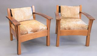"Whit Mcleod mission oak style armchairs with cow hide cushions, ht. 27"", wd. 29"""
