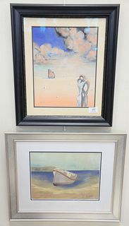 "Two framed pieces, the first After Edward Hopper, watercolor on paper, boat on shore, sight size 9"" x 12""; the second after Salvador Dali, watercolor"