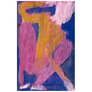 """CHUCHO REYES, Figura humana, Signed on front with monogram on back, Aniline and tempera on tissue paper, 29.3 x 18.8"""" (74.5x48cm), Certificate"""