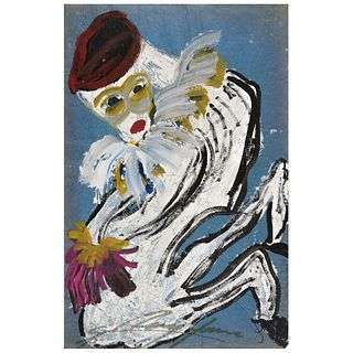 """CHUCHO REYES, Cirquero, Signed on front with monogram on back, Aniline and tempera on tissue paper, 29.9 x 19.4"""" (76 x 49.5cm), Certificate"""
