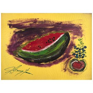 """CHUCHO REYES, Naturaleza muerta con frutas, Signed on front with monogram on back, Aniline on paper, 27.5 x 37.2"""" (70x94.5cm), Certificate"""