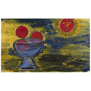 """CHUCHO REYES, Frutas al sol, Signed on front with monogram on back, Aniline and tempera on tissue paper, 16.1 x 26.5"""" (41x67.5cm), Certificate"""