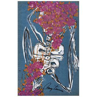 "CHUCHO REYES, Calavera con flores, ca. 1960, Signed, Aniline on tissue paper, 27.5 x 19.4"" (70 x 49.5 cm), Certificate"