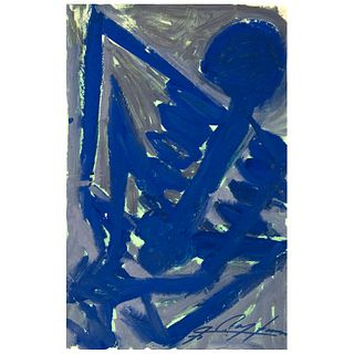 """CHUCHO REYES, Calaca Azul, Signed on front and back, Aniline and ink on tissue paper, 29.5 x 18.8"""" (75 x 48 cm), Certificate"""