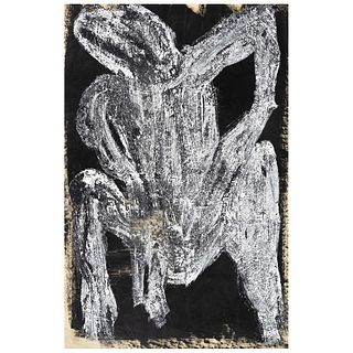 """CHUCHO REYES, Cuerpo, Signed with monogram on back, Aniline and temple on tissue paper, 27.5 x 19.4"""" (70 x 49.5 cm), Certificate"""