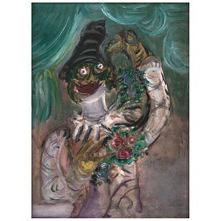 """CHUCHO REYES, Payaso con flores, Unsigned, Oil on canvas, 39.3 x 31.4"""" (100 x 80 cm), Certificate"""