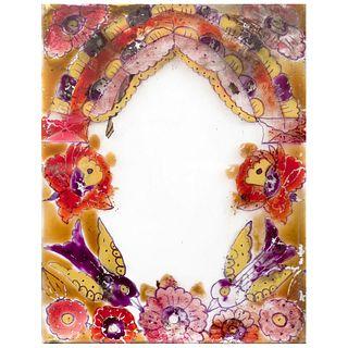 "CHUCHO REYES, Marco / Portarretrato, Unsigned, Acrylic on glass, 9.6 x 7.4"" (24.5 x 19 cm), Certificate"