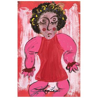 """CHUCHO REYES, Niña, Signed on front with monogram on back, Aniline and temple on tissue paper, 29.5 x 19.2"""" (75 x 49 cm), Certificate"""