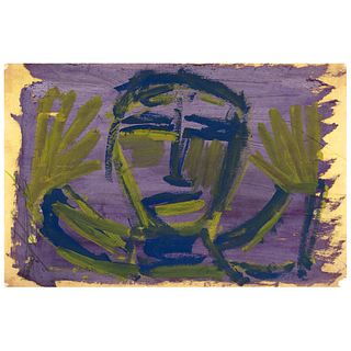 """CHUCHO REYES, Rostro, Signed on front with monogram on back, Aniline and tempera on tissue paper, 19.4 x 29.1"""" (49.5 x 74 cm), Certificate"""