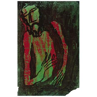 """CHUCHO REYES, Cristo, Signed on front with monogram on back, Aniline on waxed tissue paper,29.9 x 19.2"""" (76x49 cm), Certificate"""