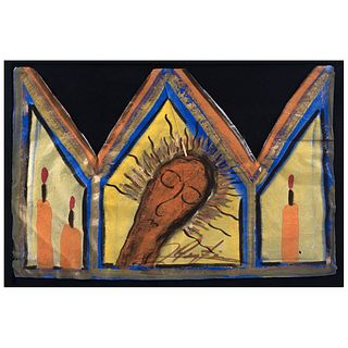 """CHUCHO REYES, Virgen Dolorosa, from the series Típticos, Signed, Aniline and tempera on tissue paper, 18.5 x 25.1"""" (47 x 64 cm), Certificate"""