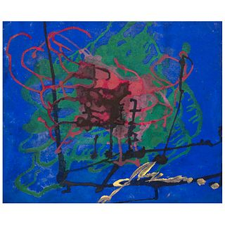 """CHUCHO REYES, Abstracto, Signed, Aniline and tempera on cardboard, 18.8 x 29.7"""" (48 x 75.5 cm), Certificate"""