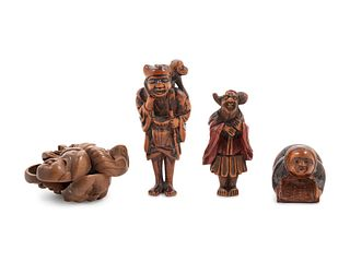 Four Boxwood Netsuke