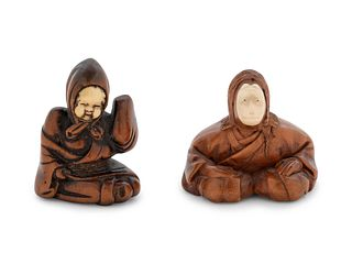 Two Boxwood Figural-Form Netsukes
