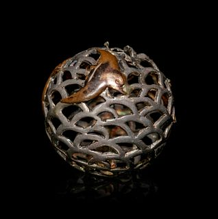 A Mixed Metal Reticulated Bead-Form Ojime