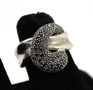 Silver Ring with Blue Irradiated Diamonds