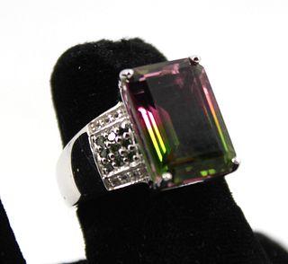 Silver, Tourmaline, Diamond & Topaz Ring