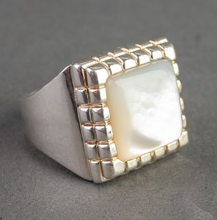 Mid-Century Sterling Silver & Mother-of-Pearl Ring