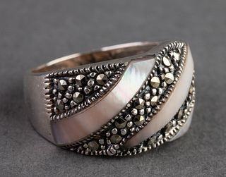 Mother-of-Pearl & Marcasite Sterling Silver Ring