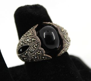 Silver, Onyx & Marcasite Ornate Ring