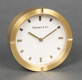 Tiffany & Co. Round Brass Desk Clock