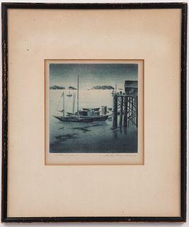 """Samuel Margolies """"Harbor Scene"""" Etching & Aquatint"""