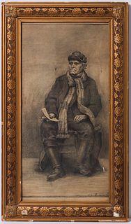 "Rummel ""Seated Fisherman"" Lithograph"