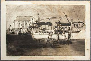 "Martin Silverman ""Shipyard, Provincetown"" Etching"
