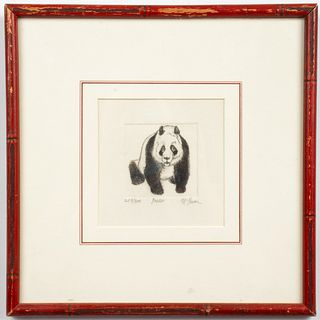 "Illegibly Signed ""Panda"" Etching"
