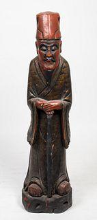 Asian Elder Polychromed & Carved Wood Sculpture